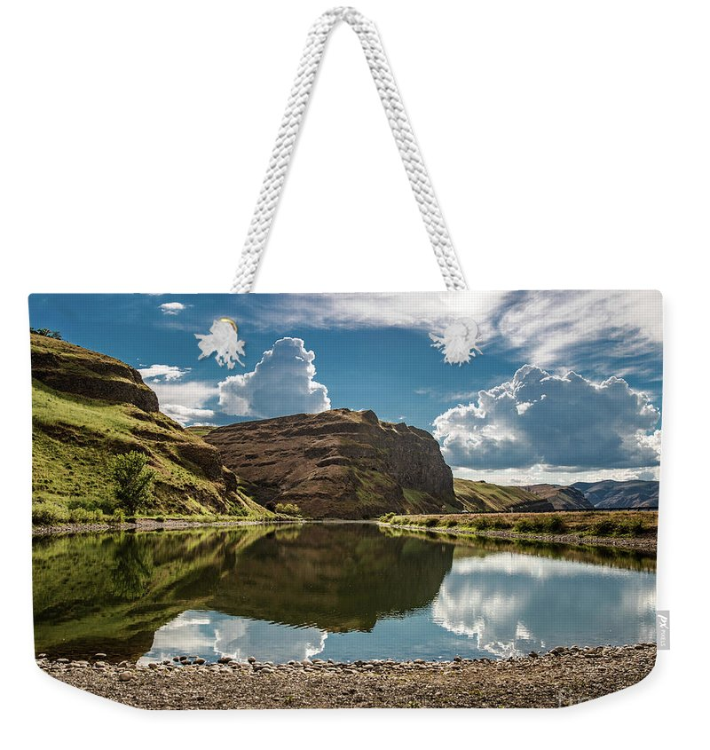 Weekender Tote Bag featuring the photograph Reflections At The Pond by Marcia Darby