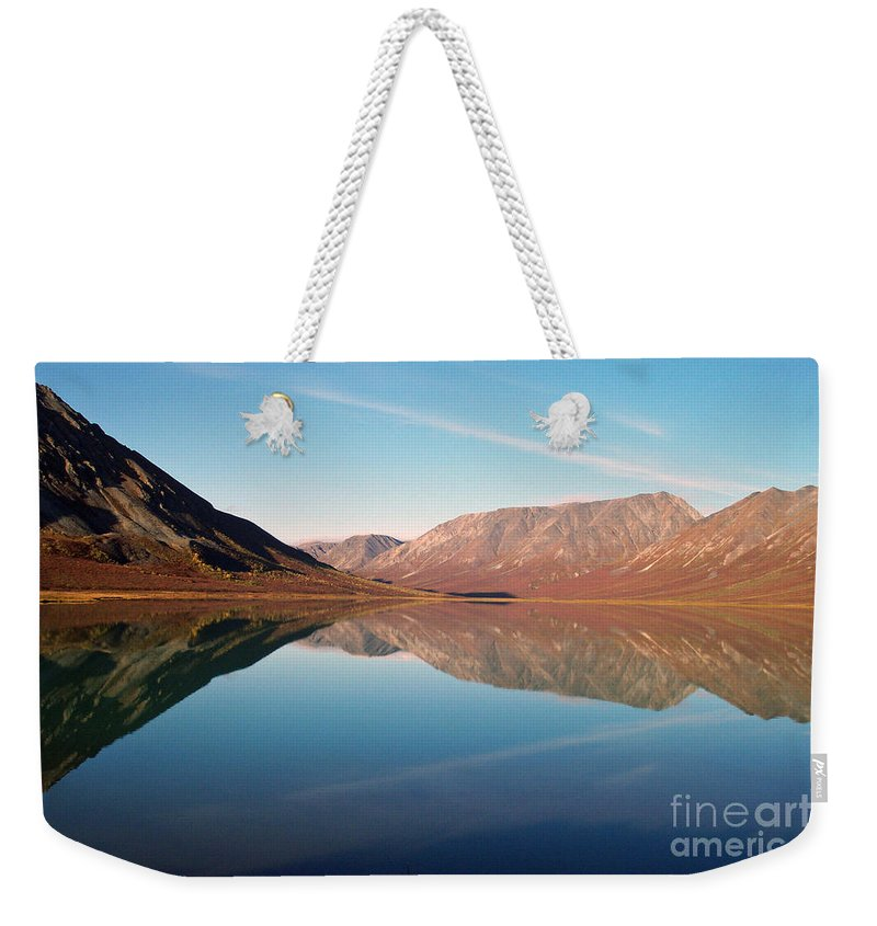 Lake Weekender Tote Bag featuring the photograph Mountains Reflected On A Beautiful Lake by Denise McAllister