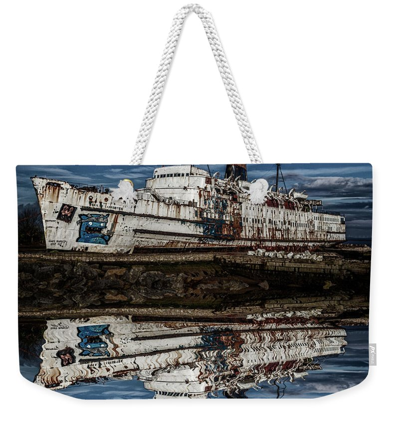 Ship Weekender Tote Bag featuring the photograph Reflections From The Duke Of Lancaster Ship by Andrew White