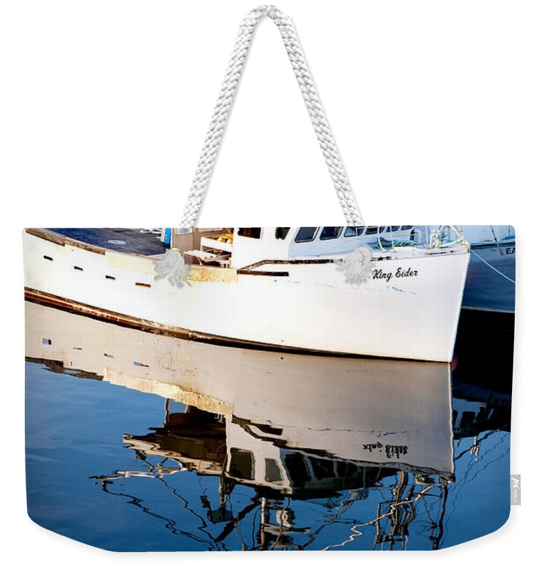 Boat Weekender Tote Bag featuring the photograph Reflections by Greg Fortier