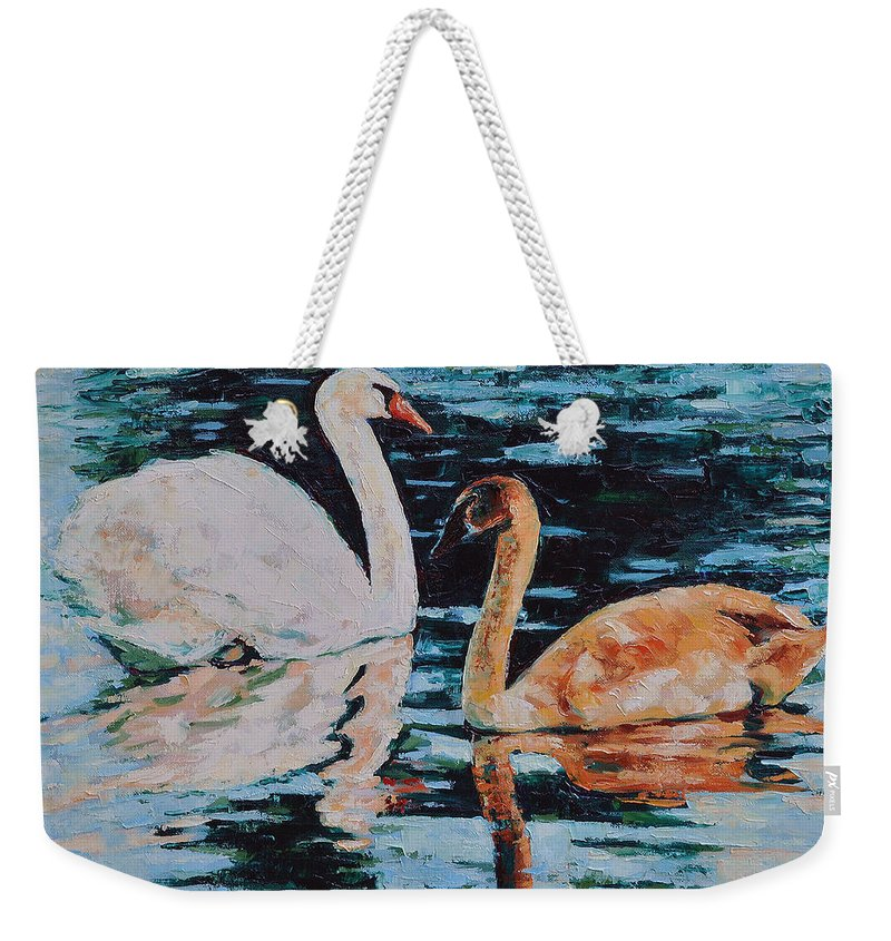 Blue Weekender Tote Bag featuring the painting Reflections by Iliyan Bozhanov