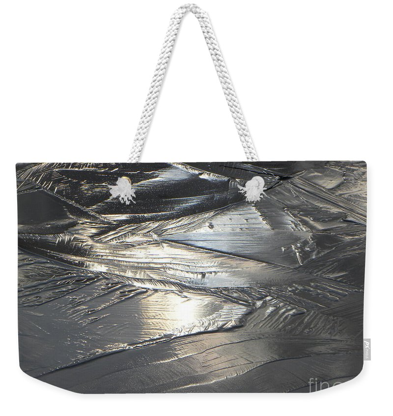 Abstract Landscape Weekender Tote Bag featuring the photograph Reflections In Dark Ice 3 by Belinda Sellari