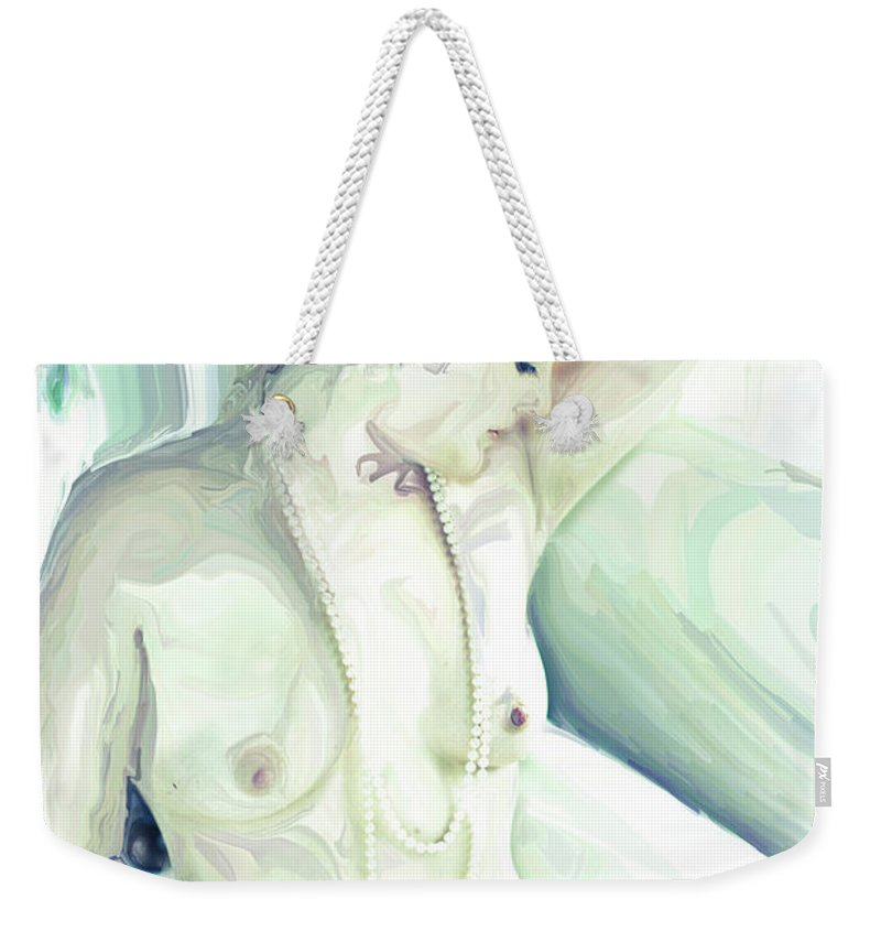 Fine Art Nude Weekender Tote Bag featuring the digital art Reflections by Jean Hall