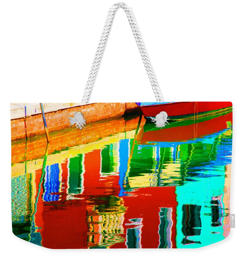 Abstract Weekender Tote Bag featuring the pastel Reflections Near The Red Hull by Donna Corless