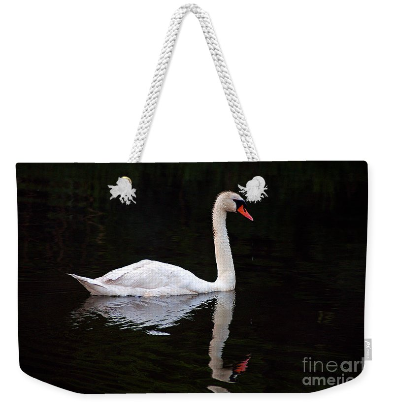 Clay Weekender Tote Bag featuring the photograph Reflections Of A Swimming Swan by Clayton Bruster
