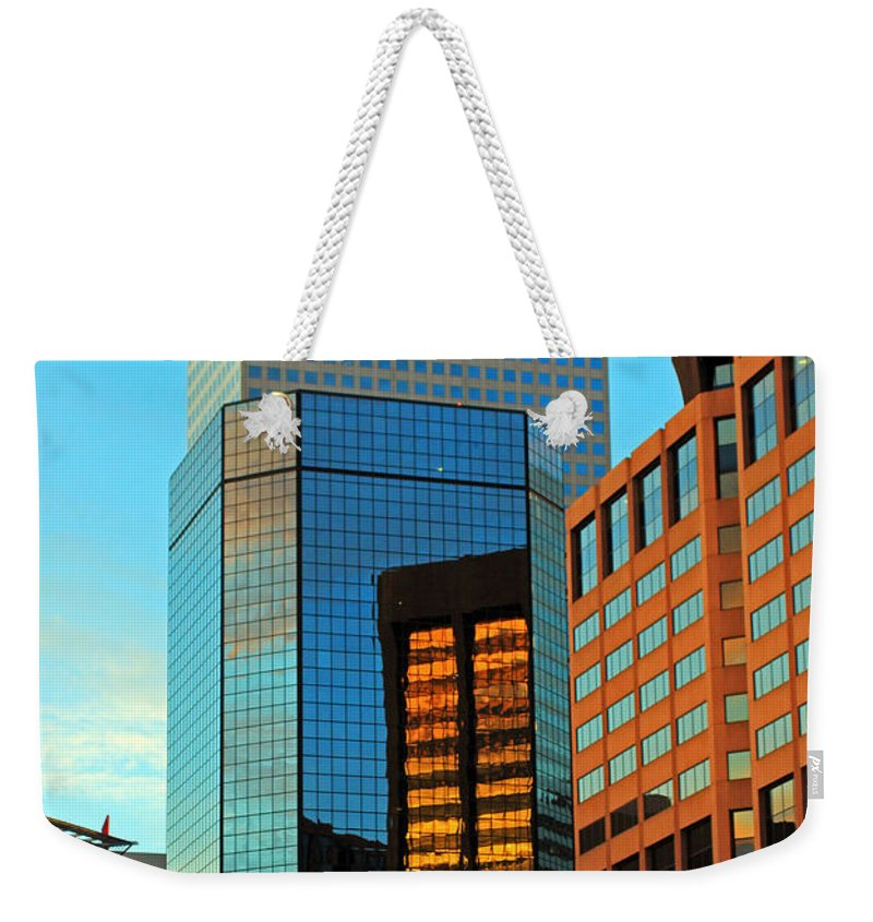 Cities Weekender Tote Bag featuring the photograph Reflections Of Denver by Jennifer Robin