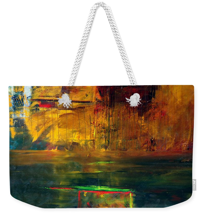 New York City Reflection Red Yellow Blue Green Weekender Tote Bag featuring the painting Reflections Of New York by Jack Diamond