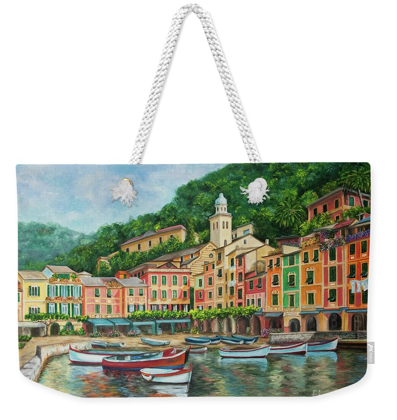 Portofino Italy Art Weekender Tote Bag featuring the painting Reflections Of Portofino by Charlotte Blanchard