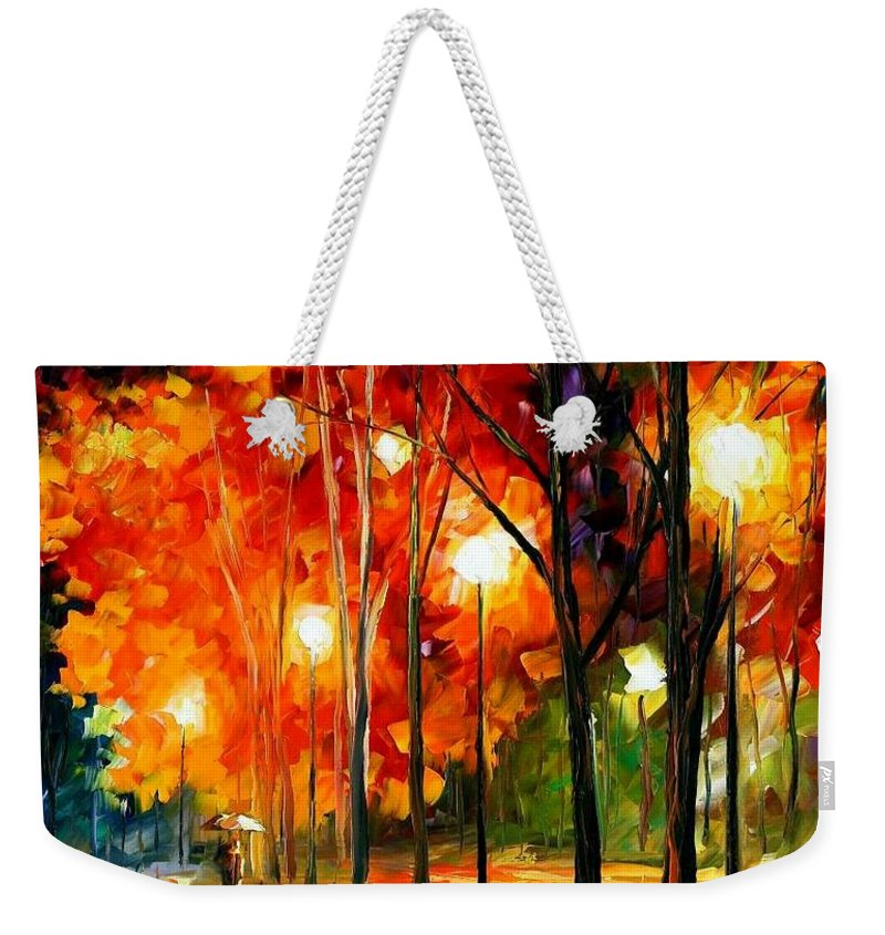 Afremov Weekender Tote Bag featuring the painting Reflections Of The Night by Leonid Afremov