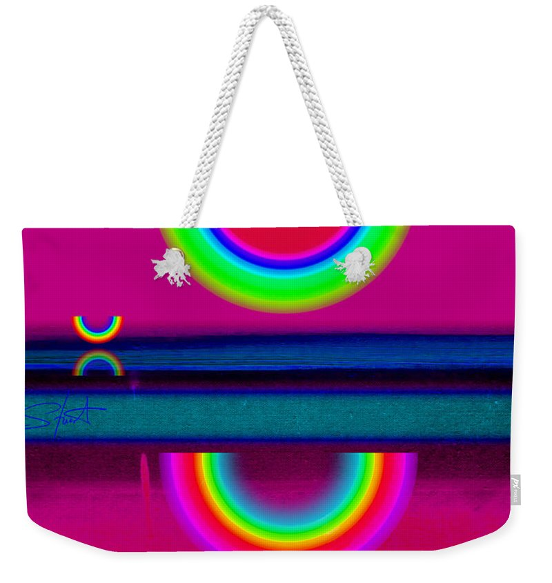 Reflections Weekender Tote Bag featuring the painting Reflections On A Glass Lake by Charles Stuart