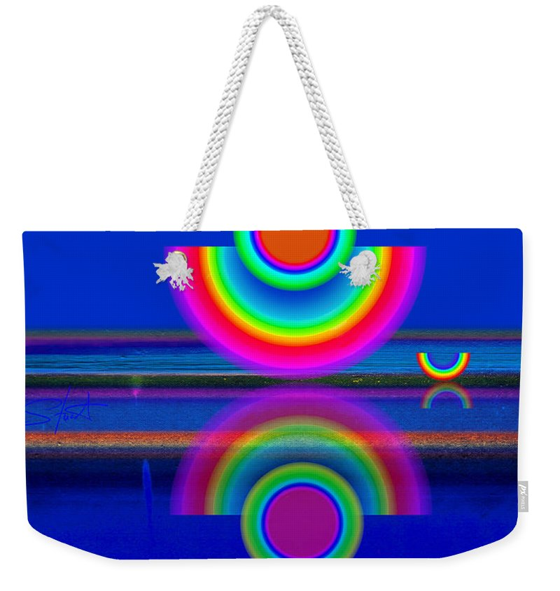 Reflections Weekender Tote Bag featuring the painting Reflections On Blue by Charles Stuart