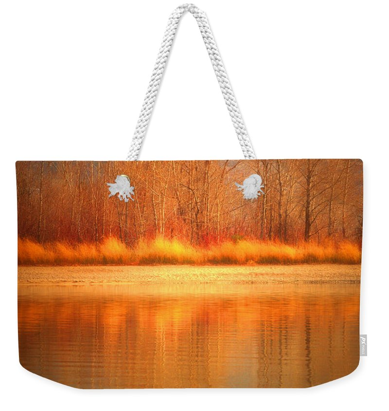 Okanagan Weekender Tote Bag featuring the photograph Reflections On Fire by Tara Turner