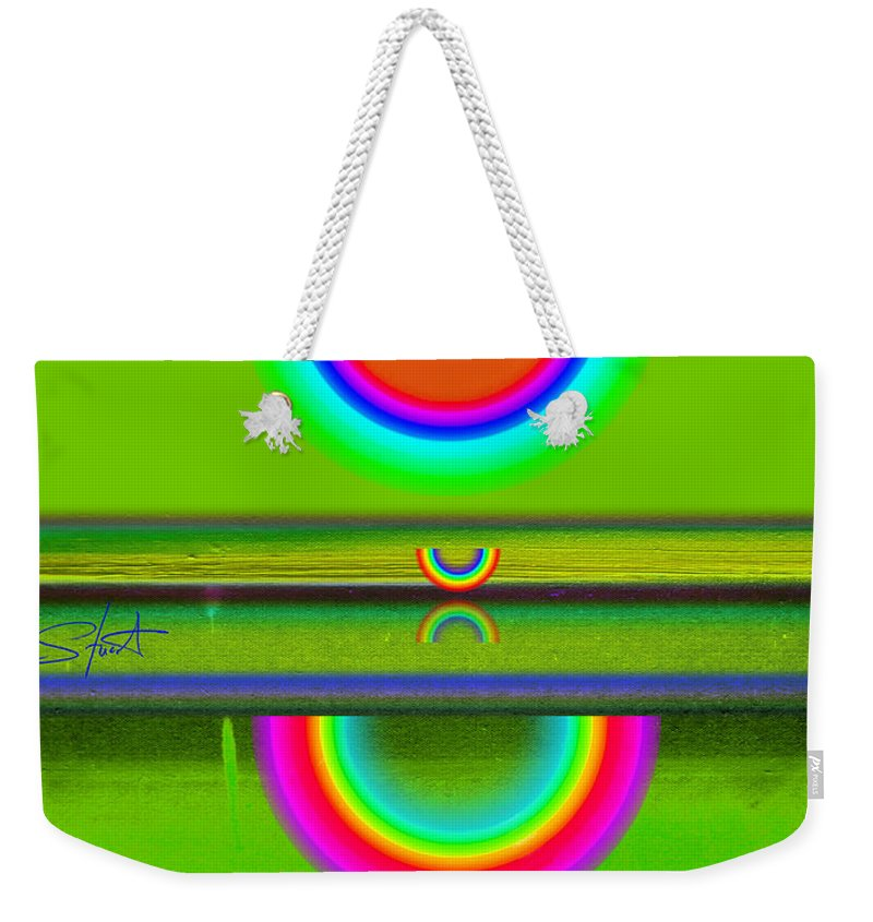 Reflections Weekender Tote Bag featuring the painting Reflections On Green by Charles Stuart