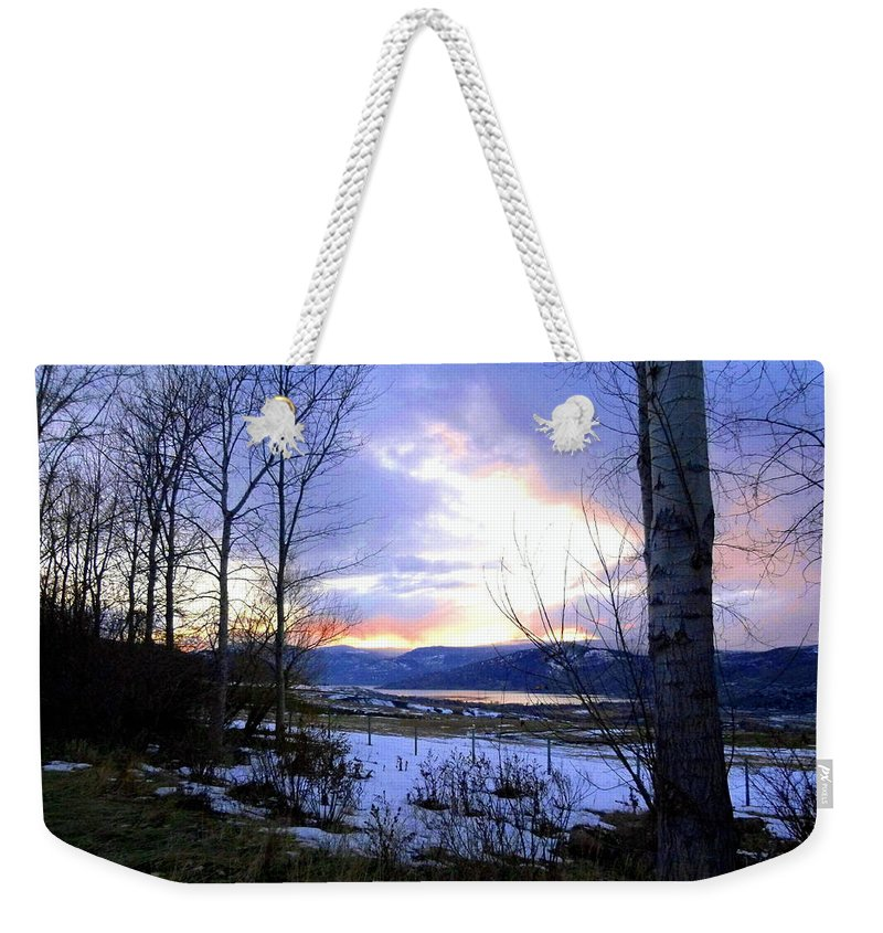 Sunset Weekender Tote Bag featuring the photograph Reflections On Lake Okanagan by Will Borden