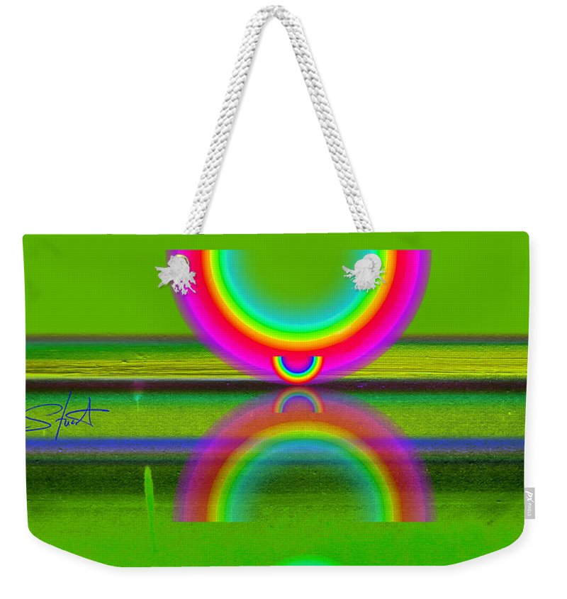 Reflections Weekender Tote Bag featuring the painting Reflections On Lime by Charles Stuart
