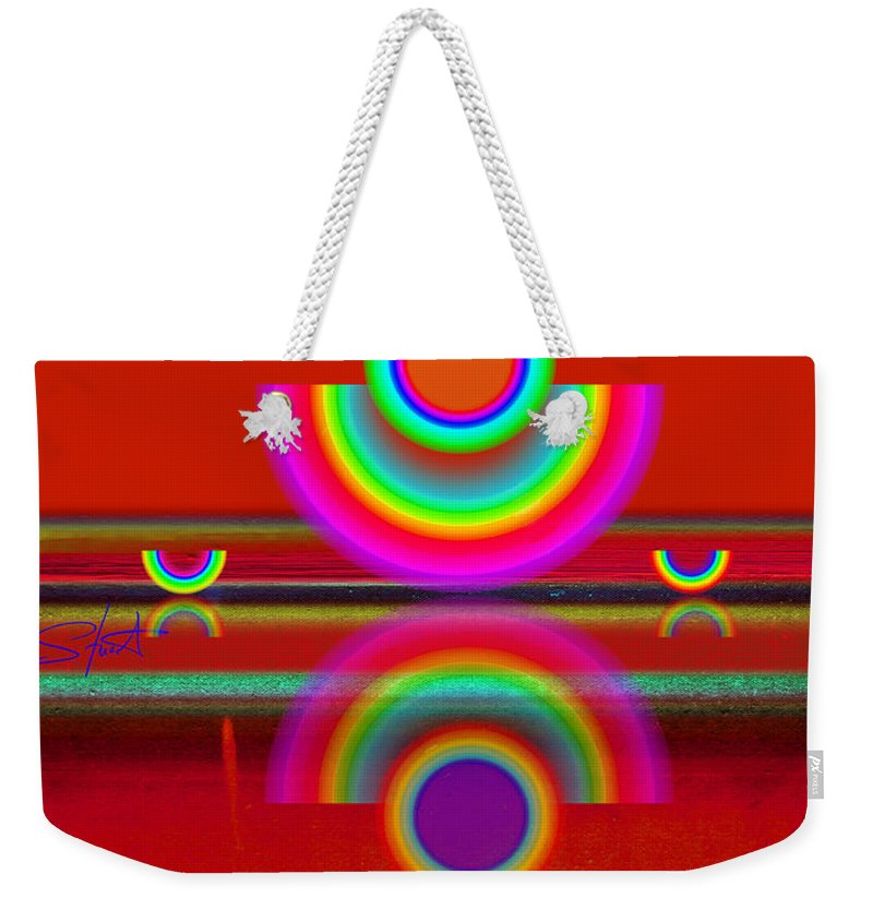 Reflections Weekender Tote Bag featuring the painting Reflections On Red by Charles Stuart