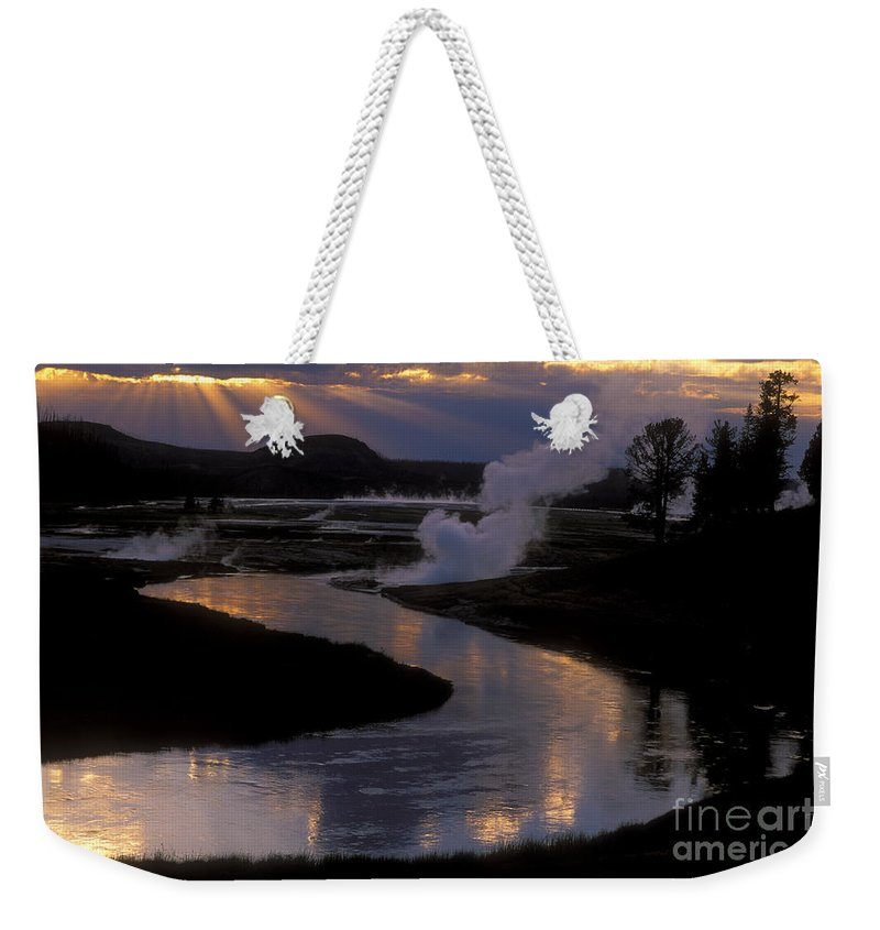 Yellowstone National Park Weekender Tote Bag featuring the photograph Reflections On The Firehole River by Sandra Bronstein