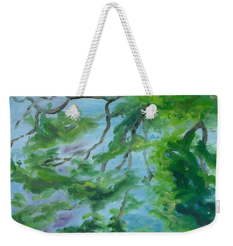 Reflections Weekender Tote Bag featuring the painting Reflections On The Mill Pond by Paula Emery