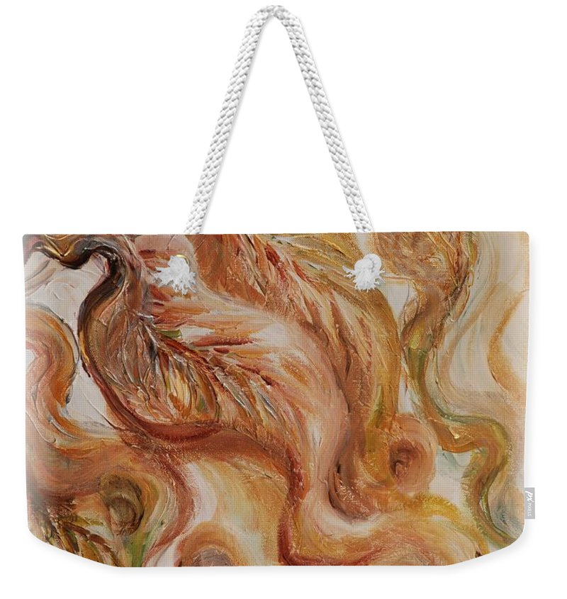 Leaves Weekender Tote Bag featuring the painting Reflective Leaves by Nadine Rippelmeyer