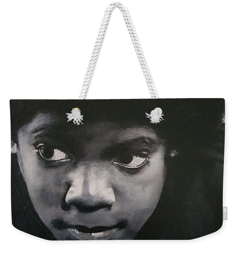 Michael Jackson Weekender Tote Bag featuring the painting Reflective Mood by Cassy Allsworth