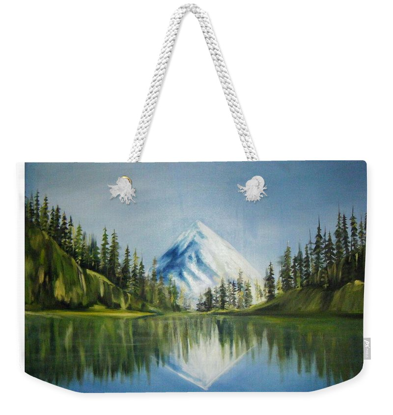 Oil Weekender Tote Bag featuring the painting Reflexion 2 by Olaoluwa Smith