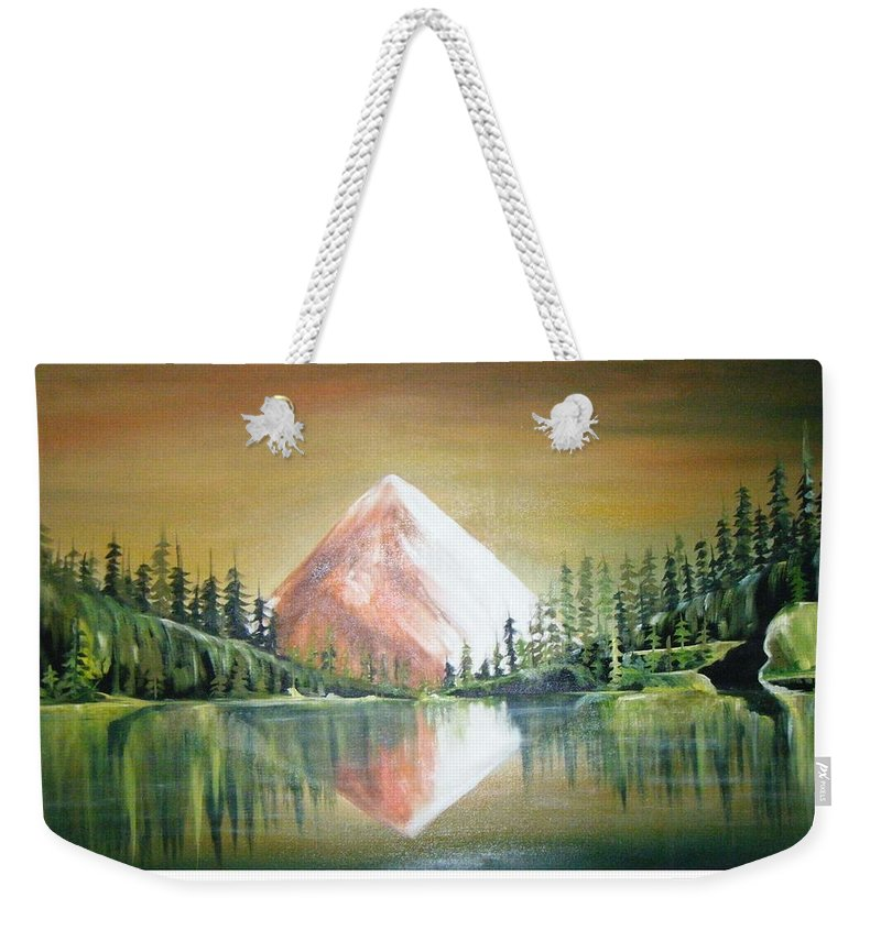 Oil Weekender Tote Bag featuring the painting Reflexion by Olaoluwa Smith