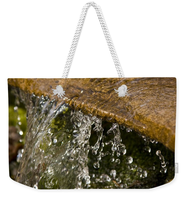 Water Stream Creek Drop Droplet Stone Run Nature Clear Cold Fall Weekender Tote Bag featuring the photograph Refreshment by Andrei Shliakhau