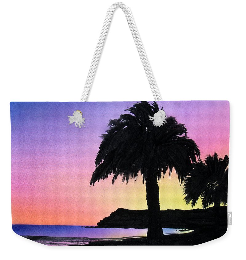 Beach Weekender Tote Bag featuring the painting Refugio Point 1 by Angie Hamlin