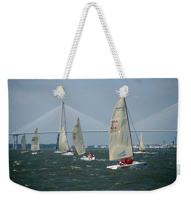 Photography Weekender Tote Bag featuring the photograph Regatta in Charleston Harbor by Susanne Van Hulst
