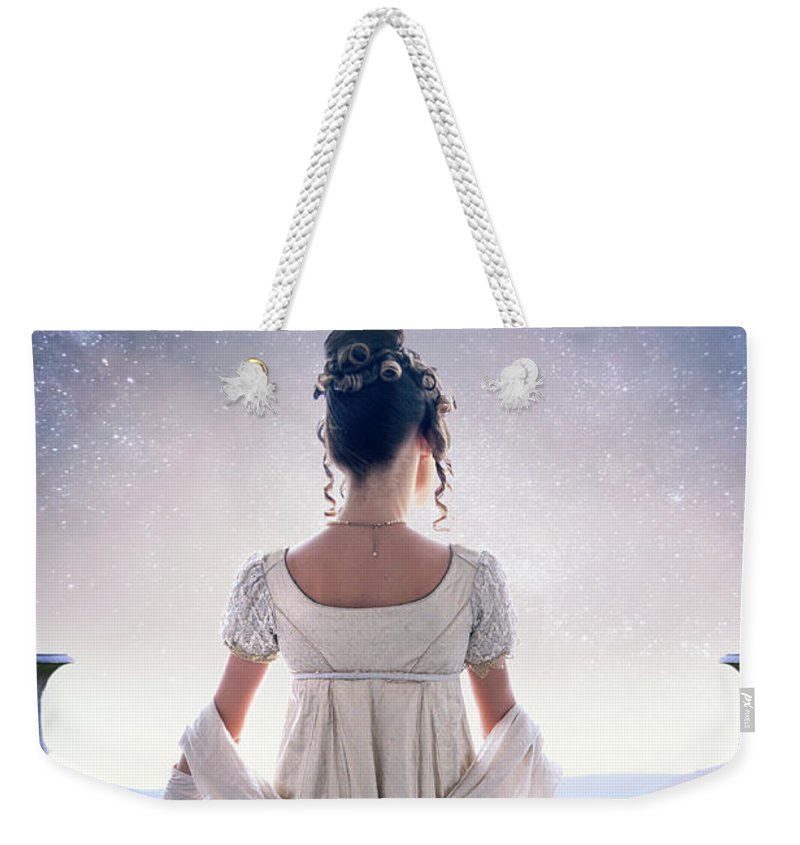 Regency Weekender Tote Bag featuring the photograph Regency Woman Looking At The Stars In The Night Sky by Lee Avison