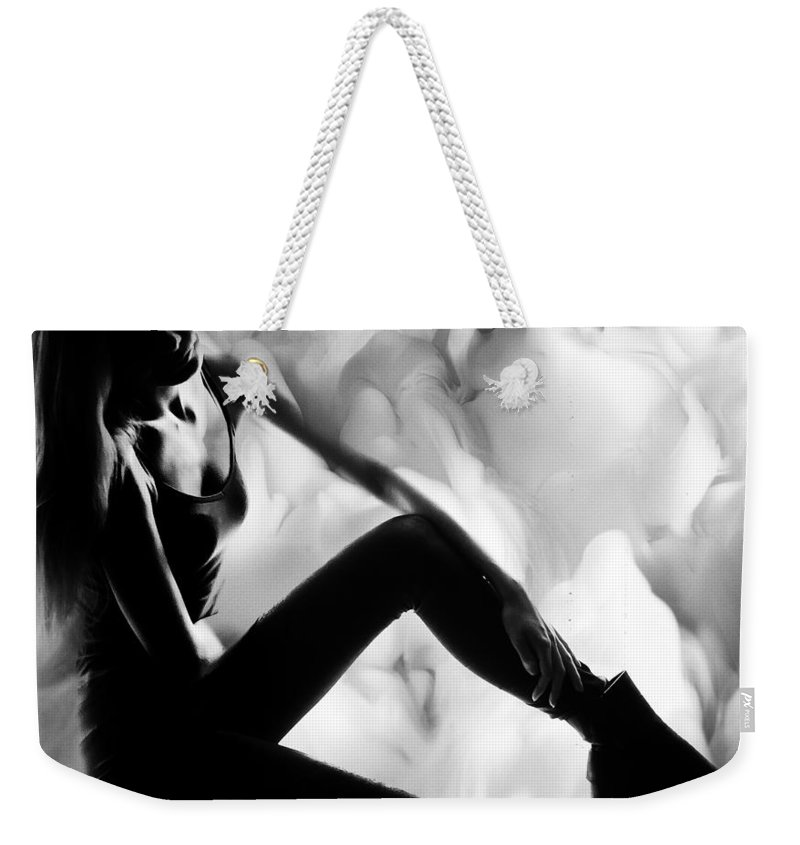Feelings Weekender Tote Bag featuring the photograph Regreting Mood V2 Bw by Alex Art and Photo