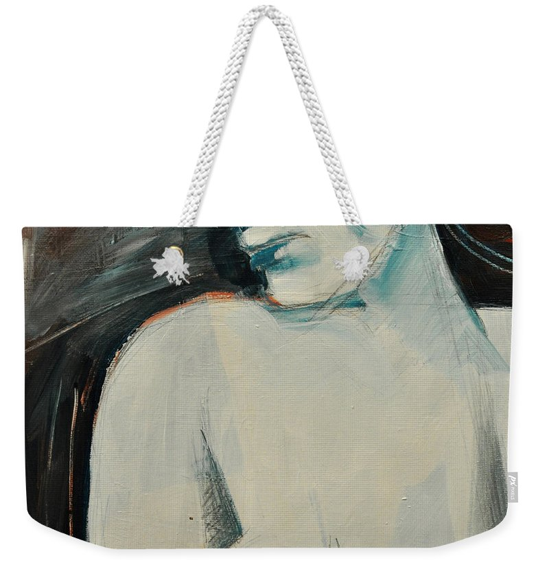 Woman Weekender Tote Bag featuring the painting Regrets by Tim Nyberg