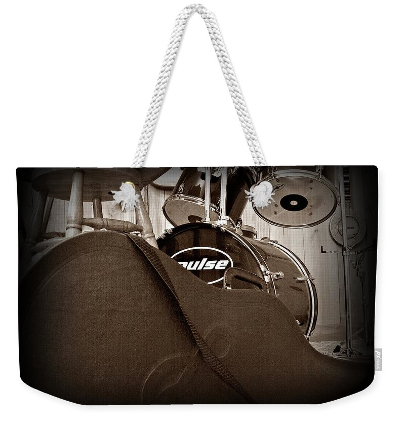 Guitar Weekender Tote Bag featuring the photograph Rehearsal Time by Steve Cochran