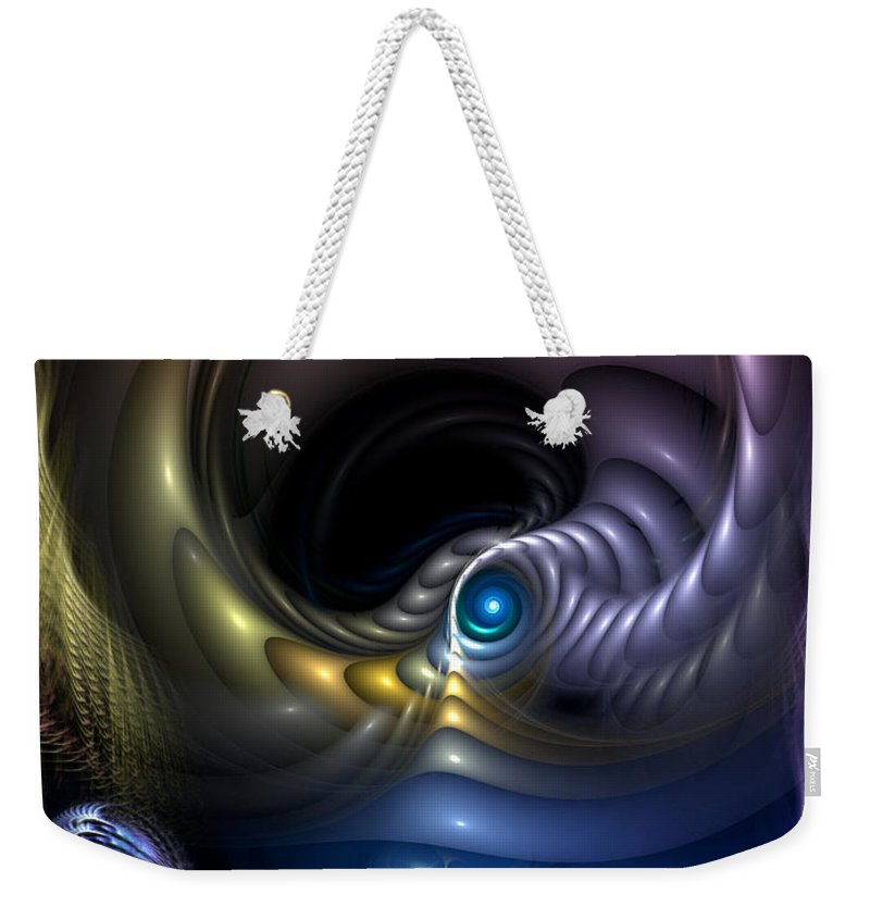 Abstract Weekender Tote Bag featuring the digital art Reincarnation - The Quandary by Casey Kotas