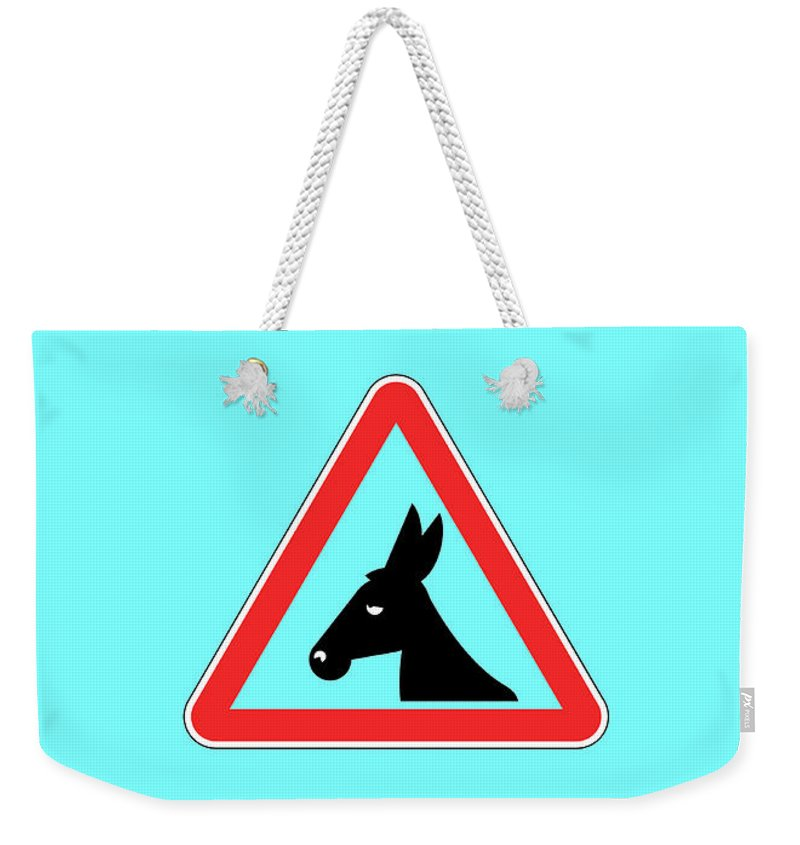 Funny Weekender Tote Bag featuring the digital art Rejecting Bigstock Donkey 171252860 by Mitchell Watrous