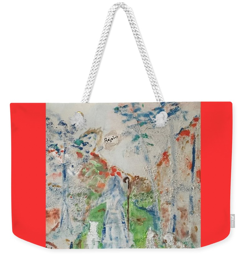 Religious Spiritual Christmas Shepherd Sheep Angel Modern Weekender Tote Bag featuring the painting Rejoice by James Naughton