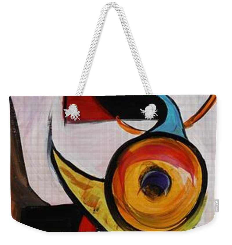 Shapes Weekender Tote Bag featuring the painting Relationships by Nadine Rippelmeyer