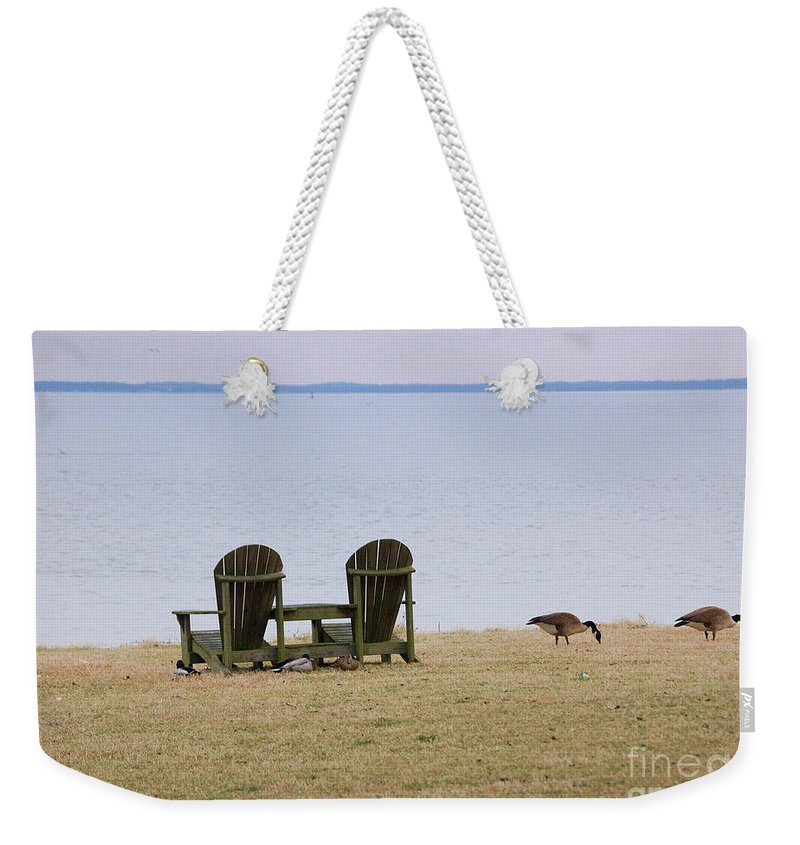 Chairs Weekender Tote Bag featuring the photograph Relax by Debbi Granruth