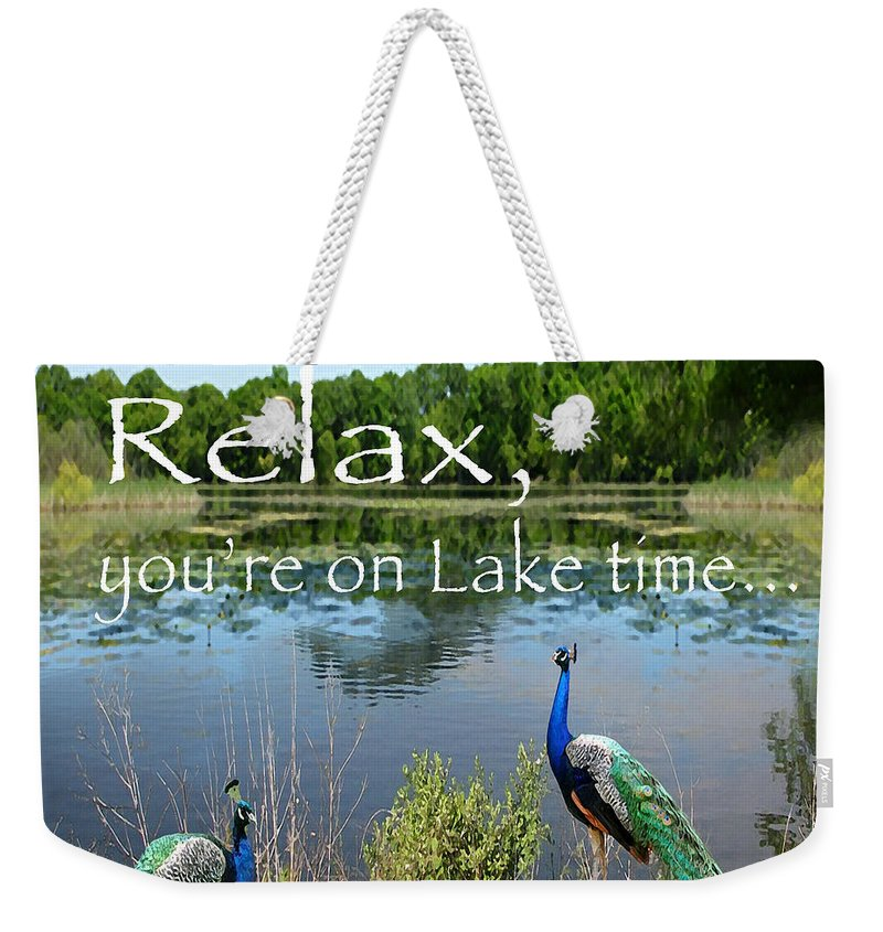 Lake Shore Weekender Tote Bag featuring the painting Relax Lake Time-jp2737 by Jean Plout