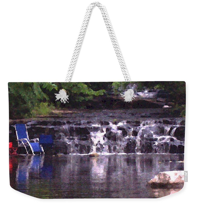 Landscape Weekender Tote Bag featuring the photograph Relaxing In The Creek by Lisa Kane