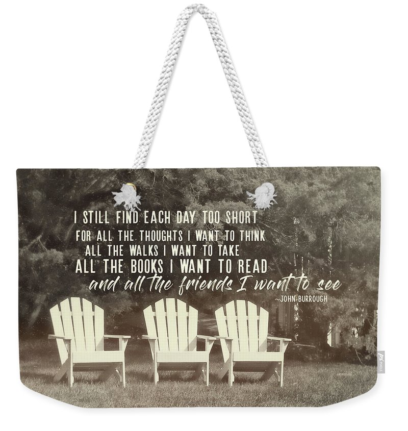 Cape Weekender Tote Bag featuring the photograph Relaxing On The Cape Quote by JAMART Photography