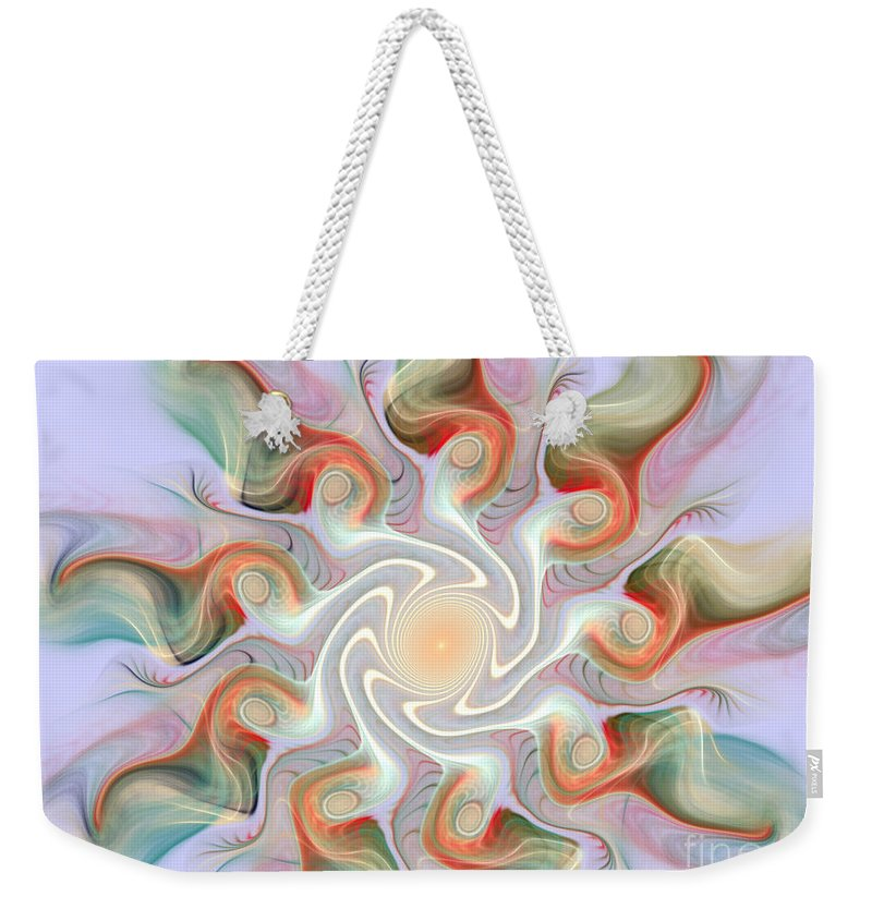 Fractal Weekender Tote Bag featuring the mixed media Release From The Center by Deborah Benoit