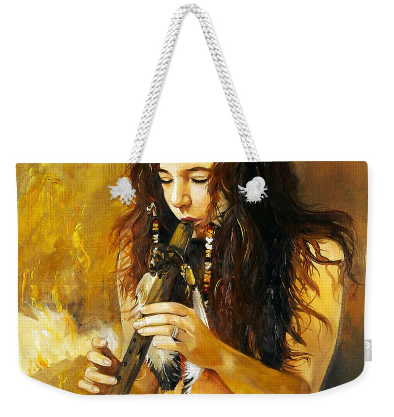 Woman Weekender Tote Bag featuring the painting Release by J W Baker