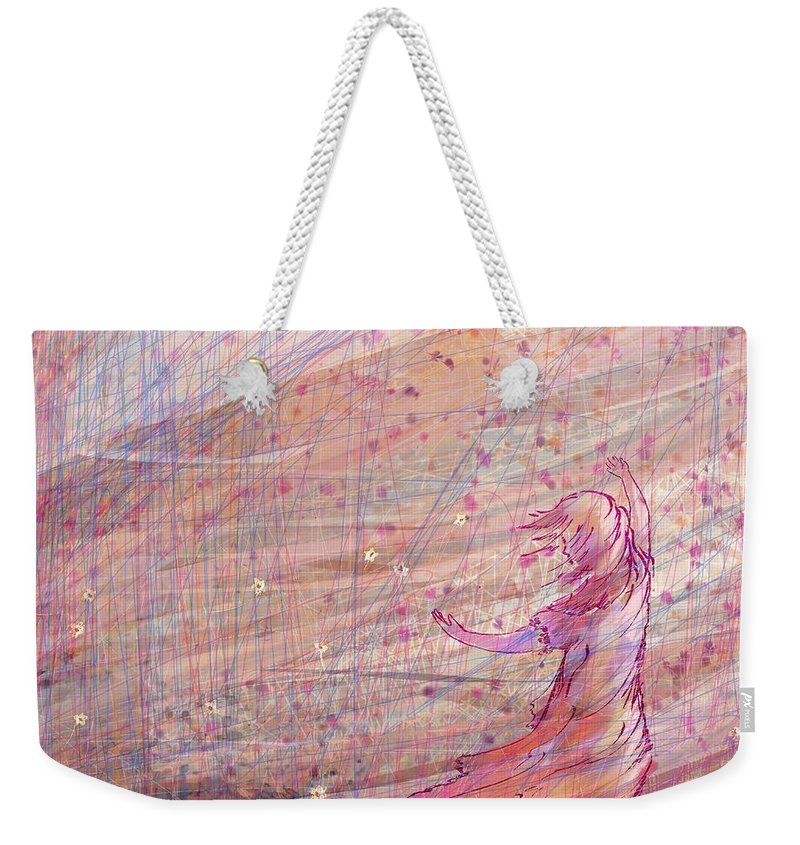 Abstract Weekender Tote Bag featuring the digital art Releasing The Daisies by William Russell Nowicki