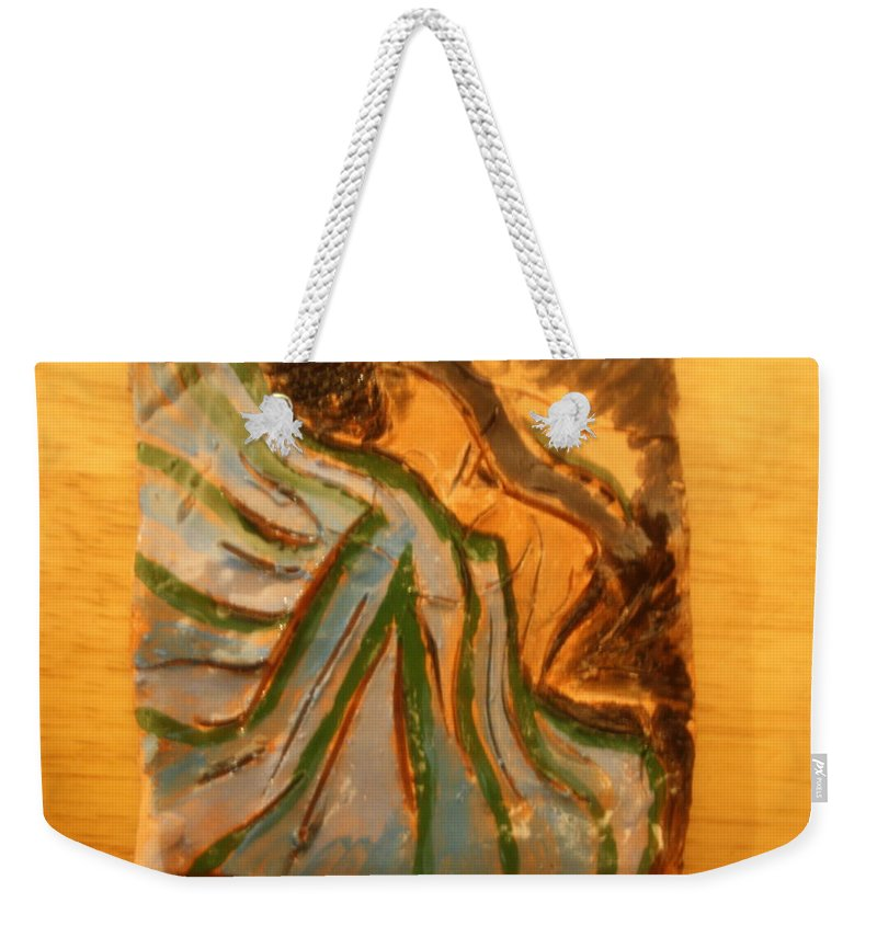 Jesus Weekender Tote Bag featuring the ceramic art Relieved - Tile by Gloria Ssali