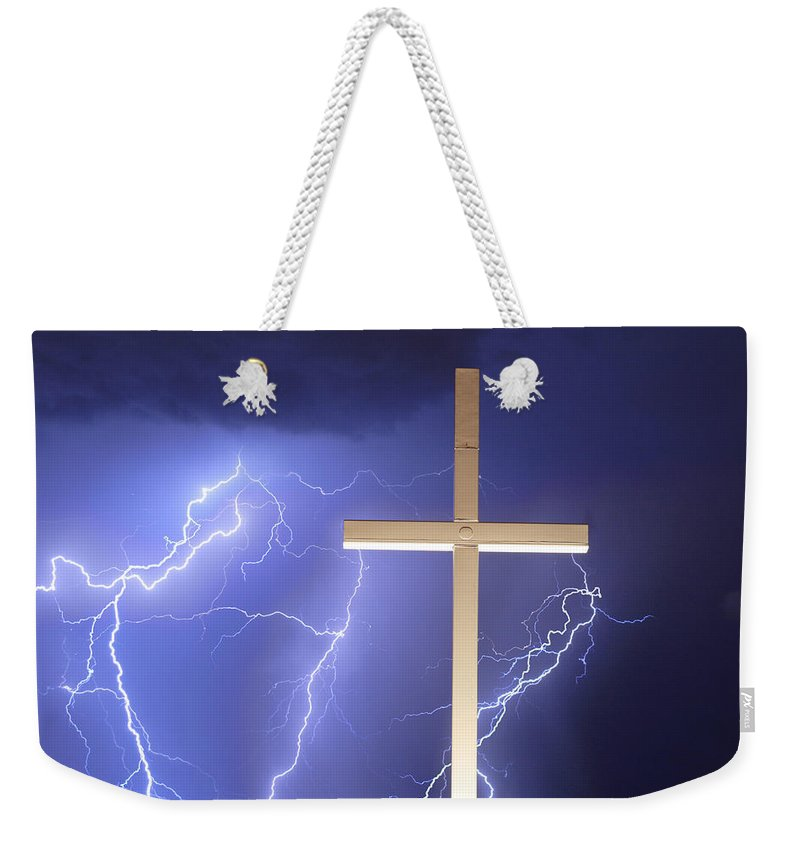 Lightning Weekender Tote Bag featuring the photograph He Has Risen by James BO Insogna