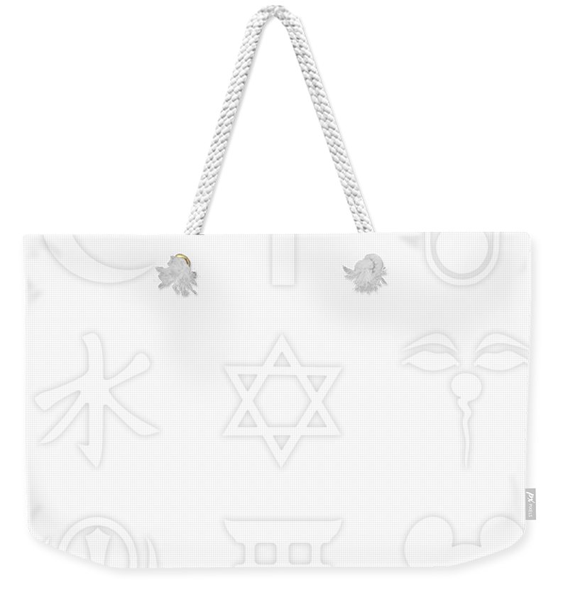 Corporate Weekender Tote Bag featuring the painting Religions? Take A Closer Look 1 by Tony Rubino