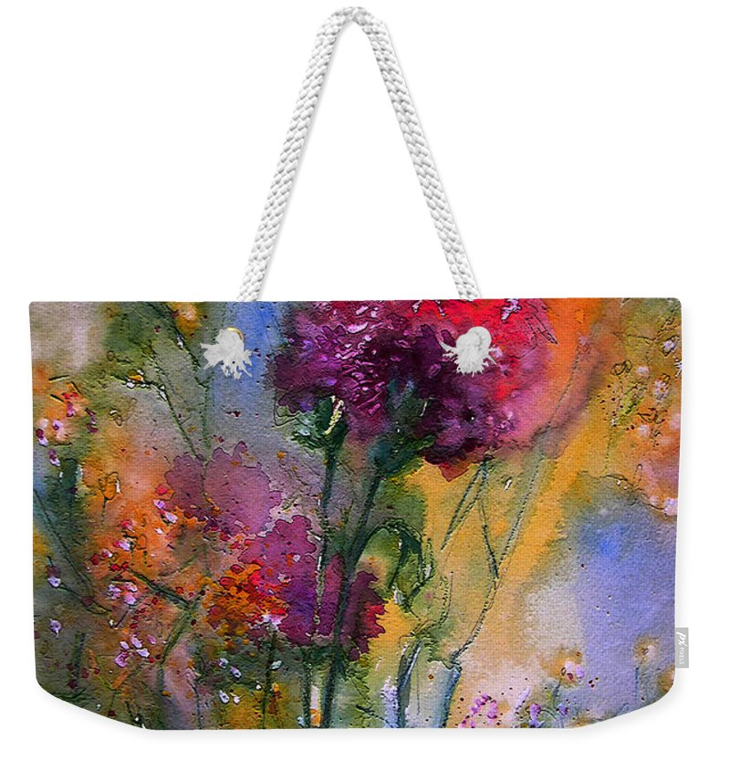 Flowers Weekender Tote Bag featuring the painting Remains Of The Day by Miki De Goodaboom