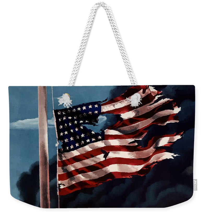 American Flag Weekender Tote Bag featuring the painting Remember December Seventh by War Is Hell Store