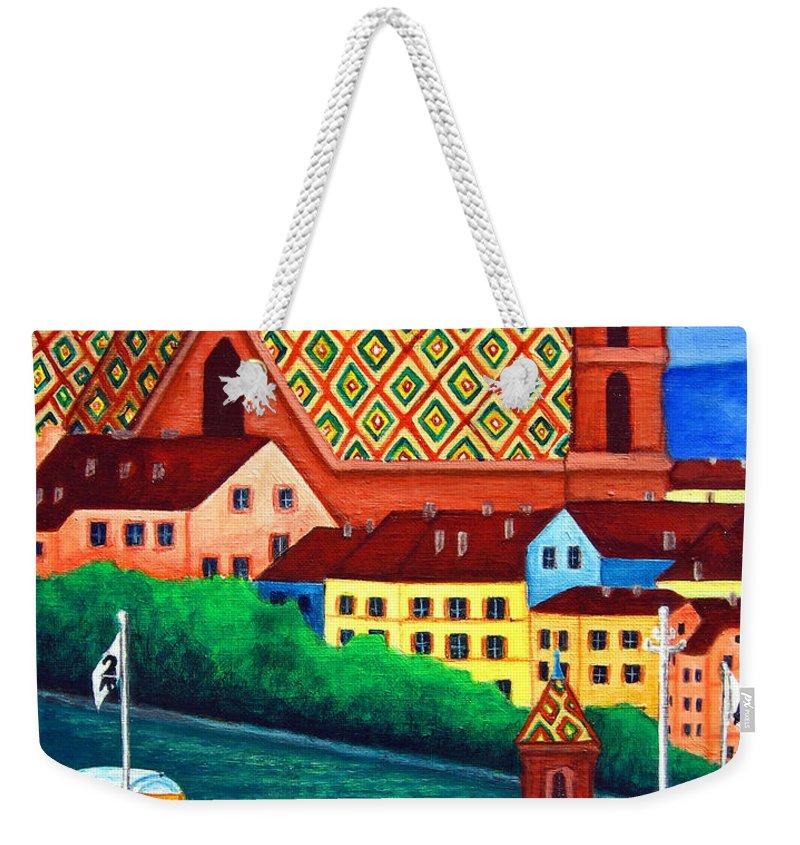 Basel Weekender Tote Bag featuring the painting Remembering Basel by Lisa Lorenz